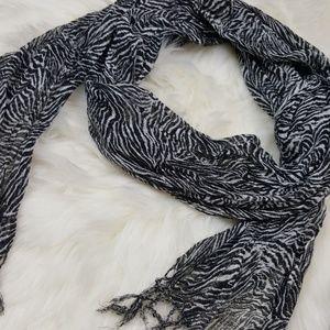 💋 Copper Key Sheer Zebra Scarf with Tassels